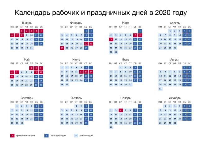 Праздничные и выходные дни 2020