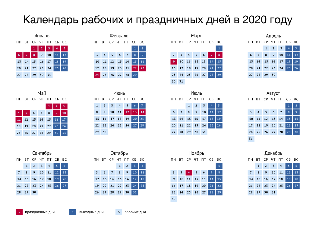 Праздничные и выходные дни 2020 года