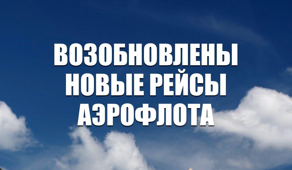 «Аэрофлот» возобновляет регулярные рейсы в Азербайджан, Казахстан, Армению, Индию