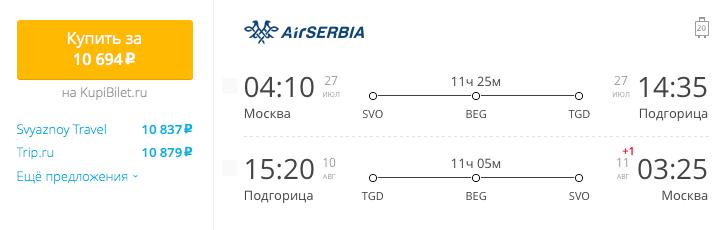 Пример бронирования авиабилетов Москва – Подгорица 10694 рублей
