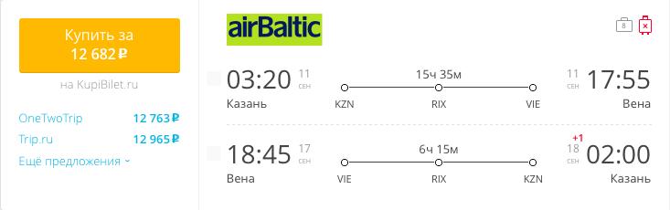Пример бронирования авиабилетов Казань – Вена за 12682 рублей