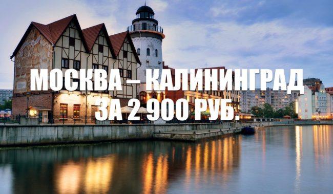 Авиабилеты Москва – Калининград 2900 руб. на ноябрь-декабрь 2020