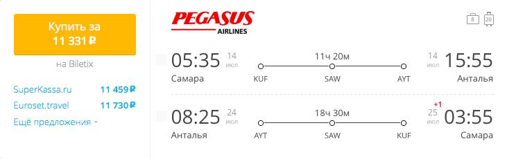 Пример бронирования авиабилетов Самара – Анталия за 11331 рублей