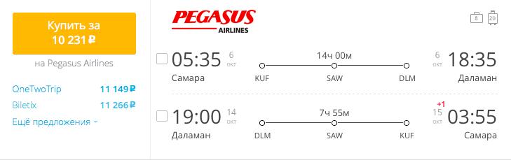 Пример бронирования авиабилетов Самара – Даламан за 10231 рублей