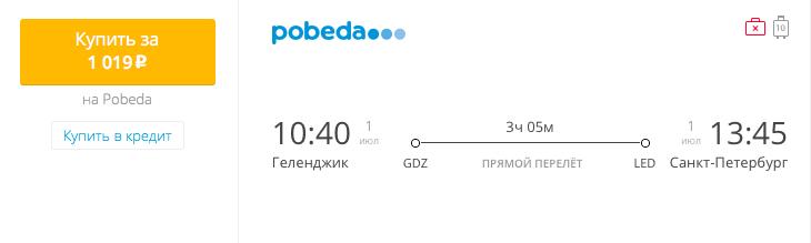 Пример бронирования авиабилетов Геленджик – Санкт-Петербург