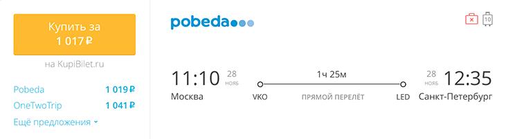 Пример бронирования авиабилета Москва – Санкт-Петербург за 1017 рублей