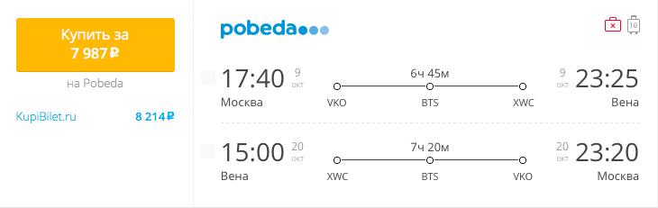 Пример бронирования авиабилетов Москва – Вена за 7987 рублей