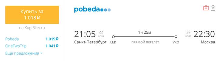 Пример бронирования авиабилета Санкт-Петербург - Москва – за 1018 рублей
