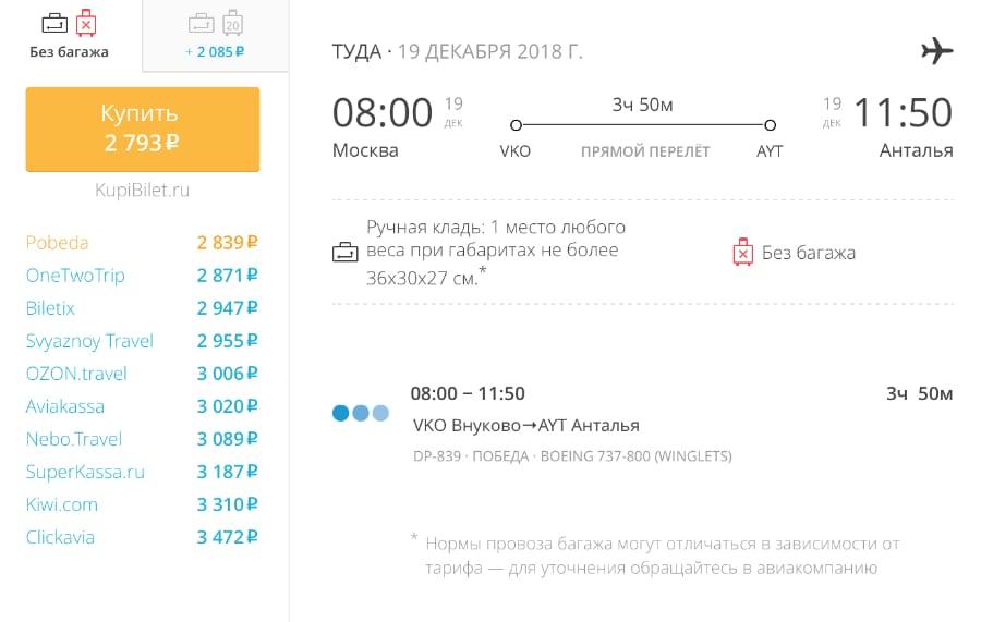 Авиабилеты «Победы» Москва – Анталья от 2 700 руб.