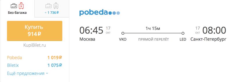 Пример бронирования авиабилета Москва – Санкт-Петербург за 941 рублей