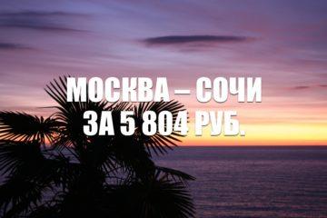Авиабилеты «России» Москва – Сочи за 5 804 рублей