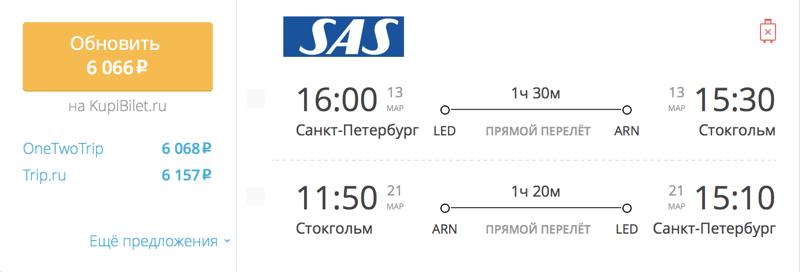 Пример бронирования авиабилетов Санкт-Петербург – Стокгольм за 6 066 рублей