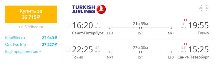 Пример бронирования авиабилетов Санкт-Петербург – Токио за 26715 рублей