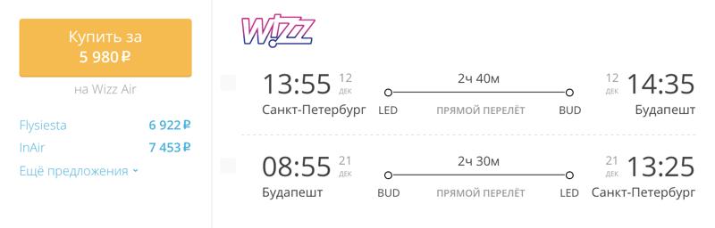 Пример бронирования авиабилетов Санкт-Петербург – Будапешт за 5 980 рублей