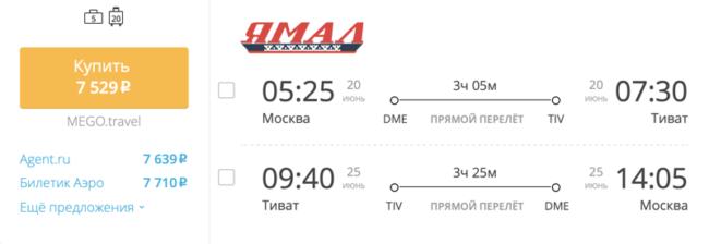 Пример бронирования авиабилетов Москва — Тиват за 7 529 рублей