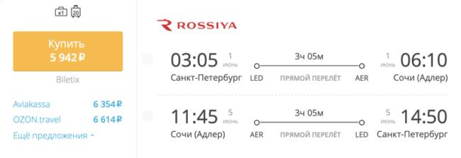 Бронирование авиабилетов Санкт-Петербург — Сочи за 5 942 рубля