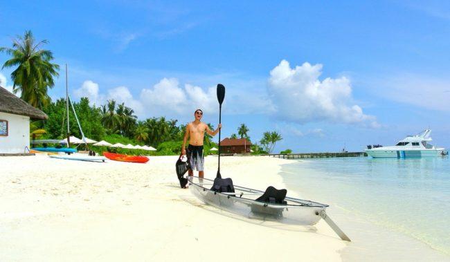 Мальдивские острова катание на лодке с прозрачным дном