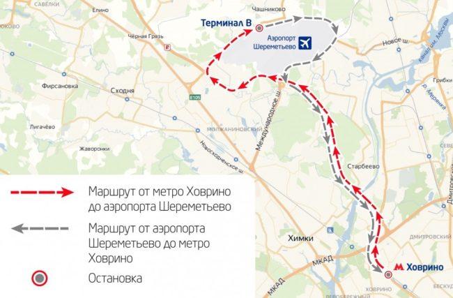 Схема маршрута экспресс-автобуса Аэроэкспресса