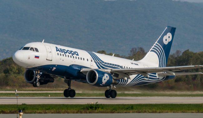 Самолет авиакомпании Аврора Airbus A319