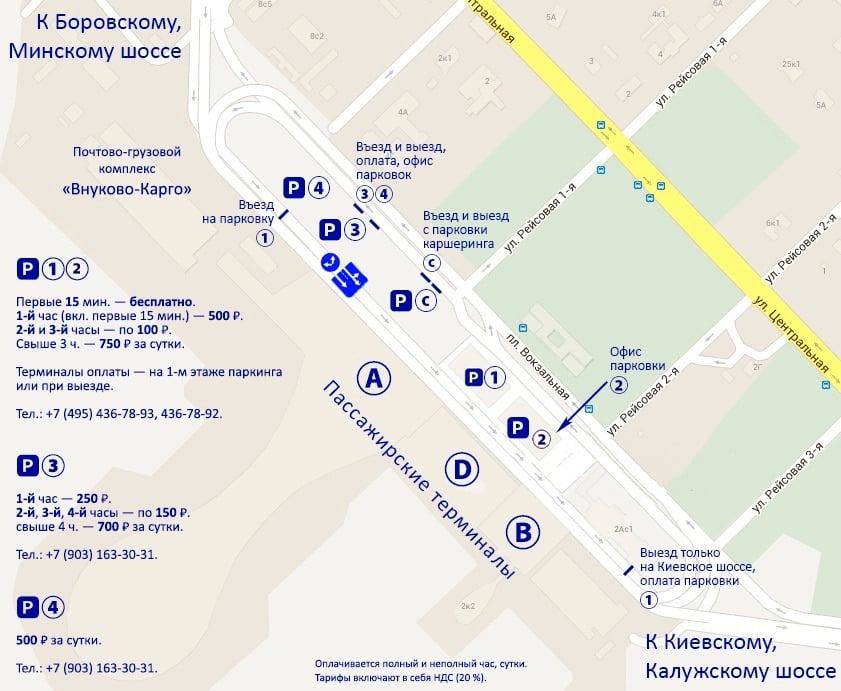 Схема парковок в аэропорту Внуково