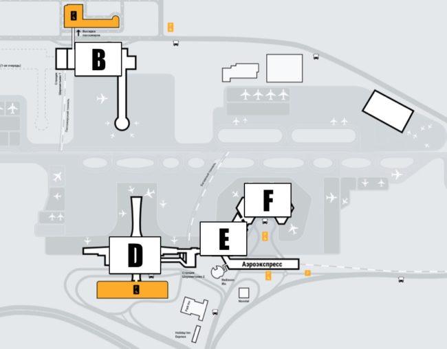 Схема парковок в Шереметьево