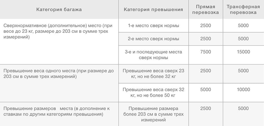 Тарифы багажа S7 Airlines по России