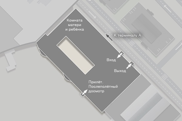 Схема терминала D аэропорта Внуково